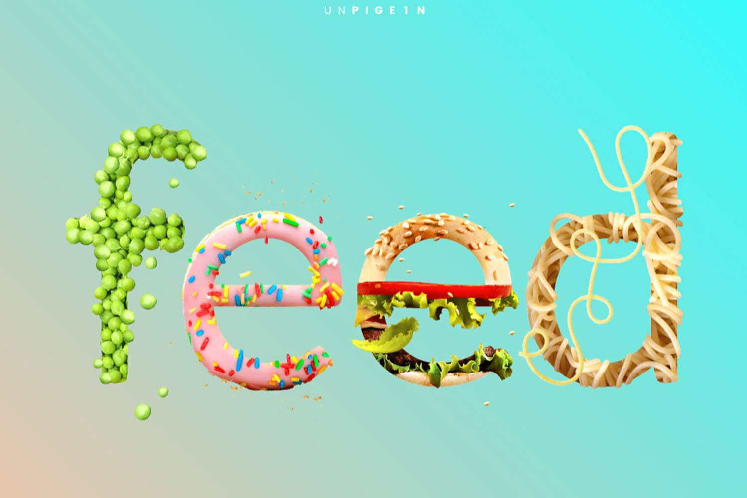 the word feed filled with images of food