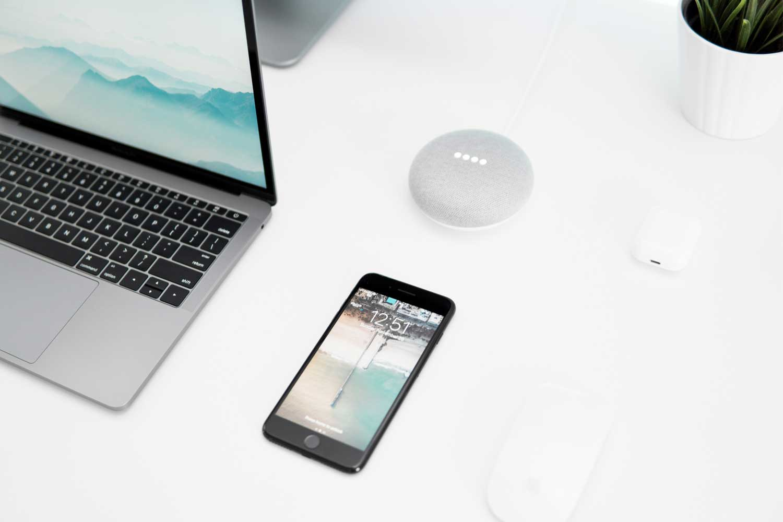 Macbook and phone