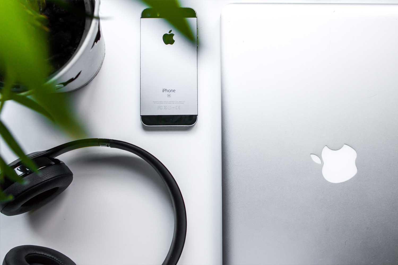 Headphones, IPhone and Macbook